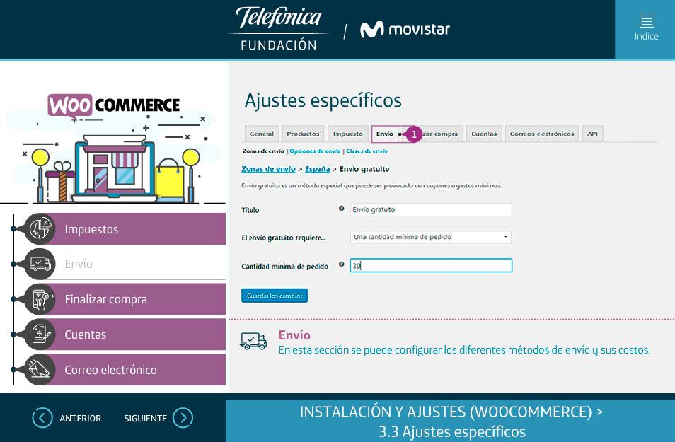 elearning gestion contenidos fundacion telefonica quito wordpress woocommerce ajustes
