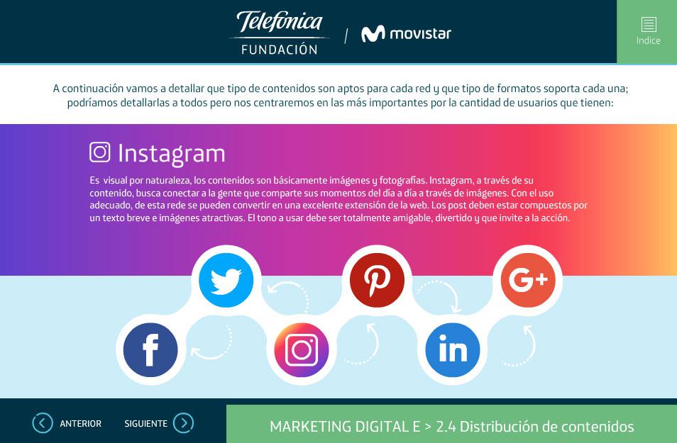 elearning marketing digital fundacion telefonica quito tipos de contenidos